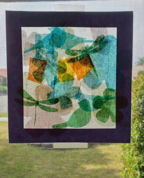 Tissue Paper Stained Glass Art in Window